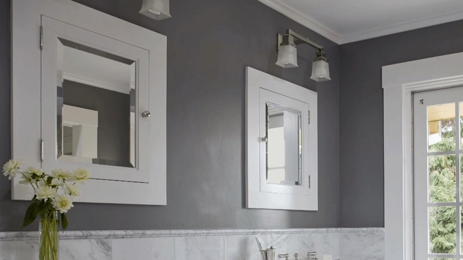 interesting grey bathroom paint colors completed with white framed. Black Bedroom Furniture Sets. Home Design Ideas