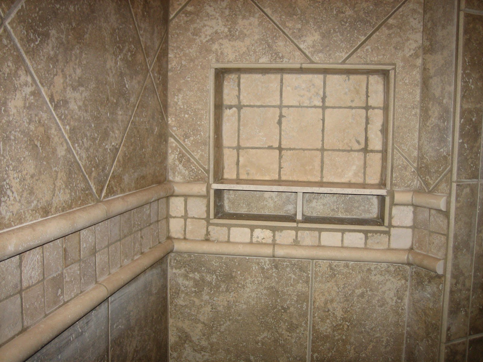 Beau Interesting Grey Tile Shower Ideas For Small Shower Space Completed With  Small Planted Shelves