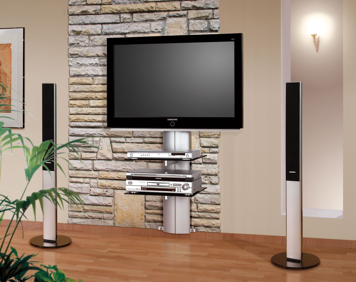 Interesting Stone Wall Details and Modern Wall Mount TV Stand for Fascinating Room with Oak Flooring