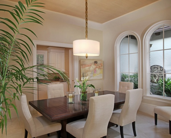 Inviting Dining Room Lighting Ideas Using White Drum Shade Decor
