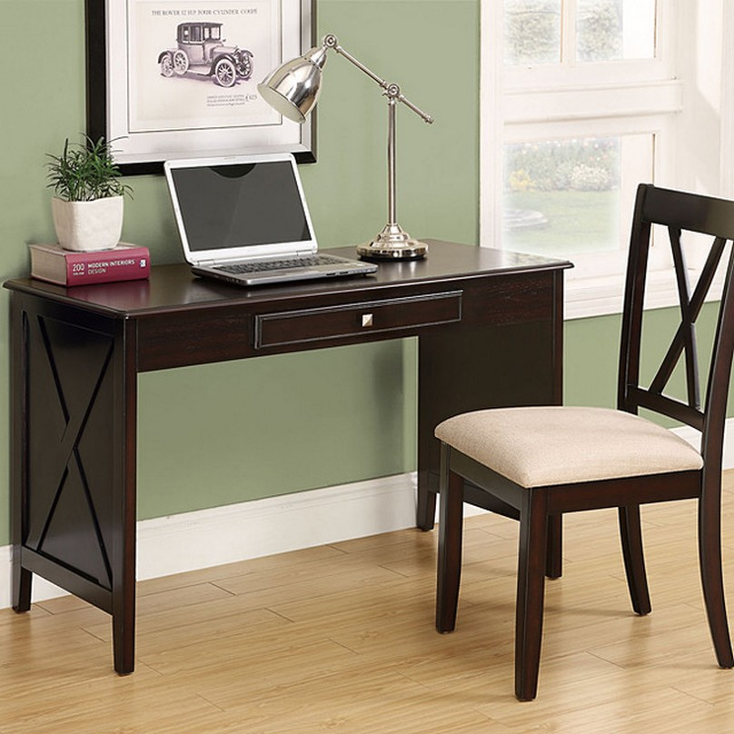 Various Ideas of Small Writing Desk for your Comfy Home  : Laminate Oak Flooring Used inside Open Home Office with Small Writing Desk and Wooden Chair from midcityeast.com size 808 x 808 jpeg 124kB