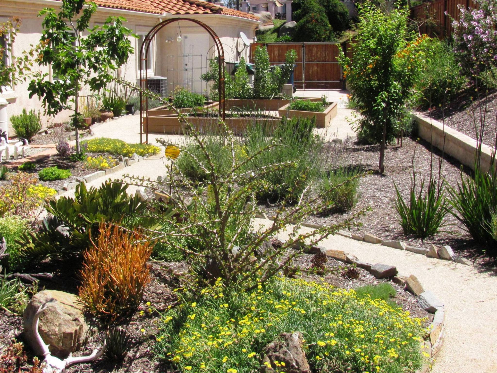 Large Backyard Landscape Design with Simple Concrete closed Pebble Space and Small Flowers
