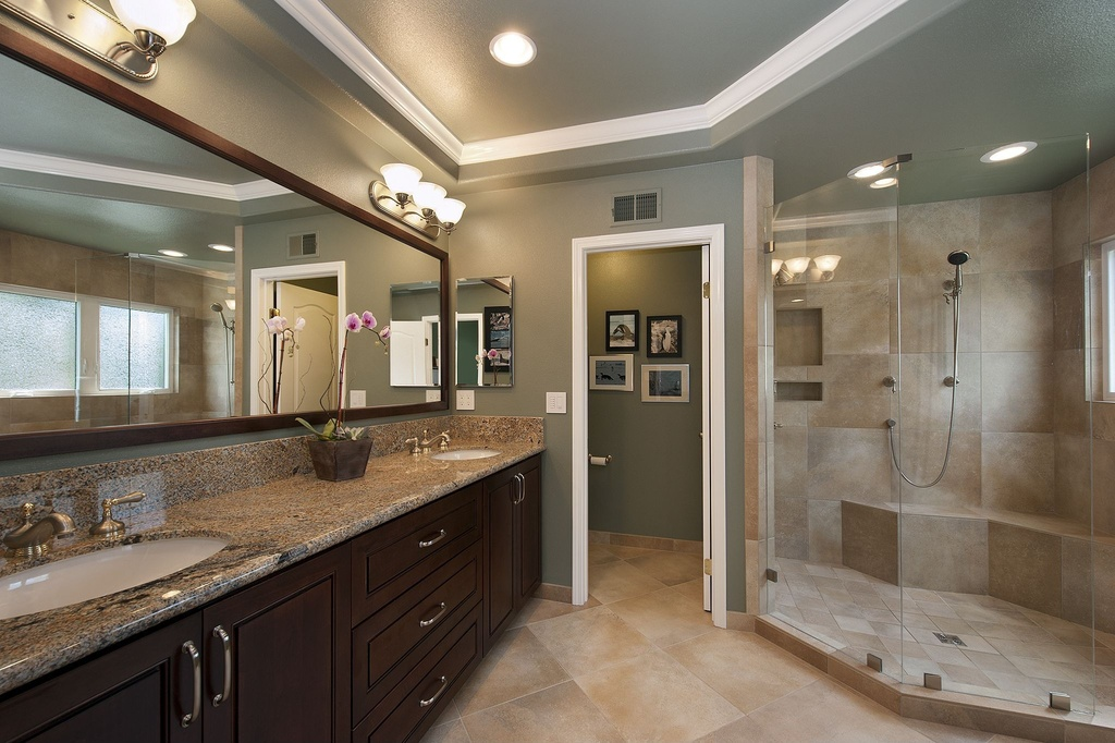 Long Oak Vanity and Granite Top for Grey Master Bathroom Ideas with Glass Shower Space