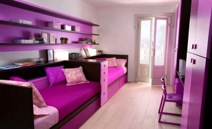 Long Purple Bunk Bed and Floating Bookshelves Placed inside Cute Room Ideas with High Wardrobe Cabinets