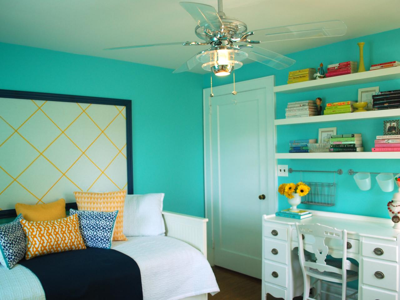 Lovely Blue Bedroom Color Ideas in Small Area with White Desk and Classic Chair near Single Bed