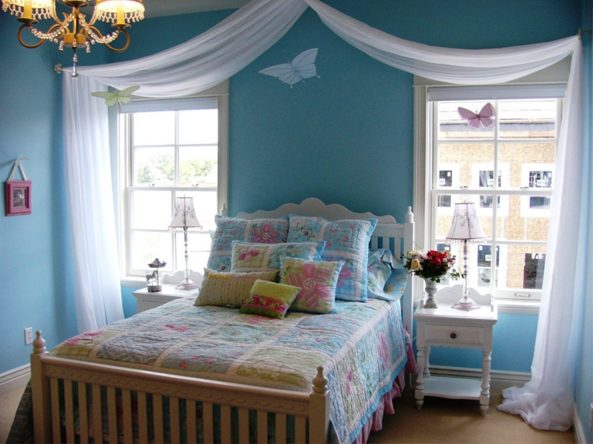 Lovely Butterfly Ornaments Inside Traditional Teen Girl Bedroom Ideas With  White Bed And Colorful Quilt