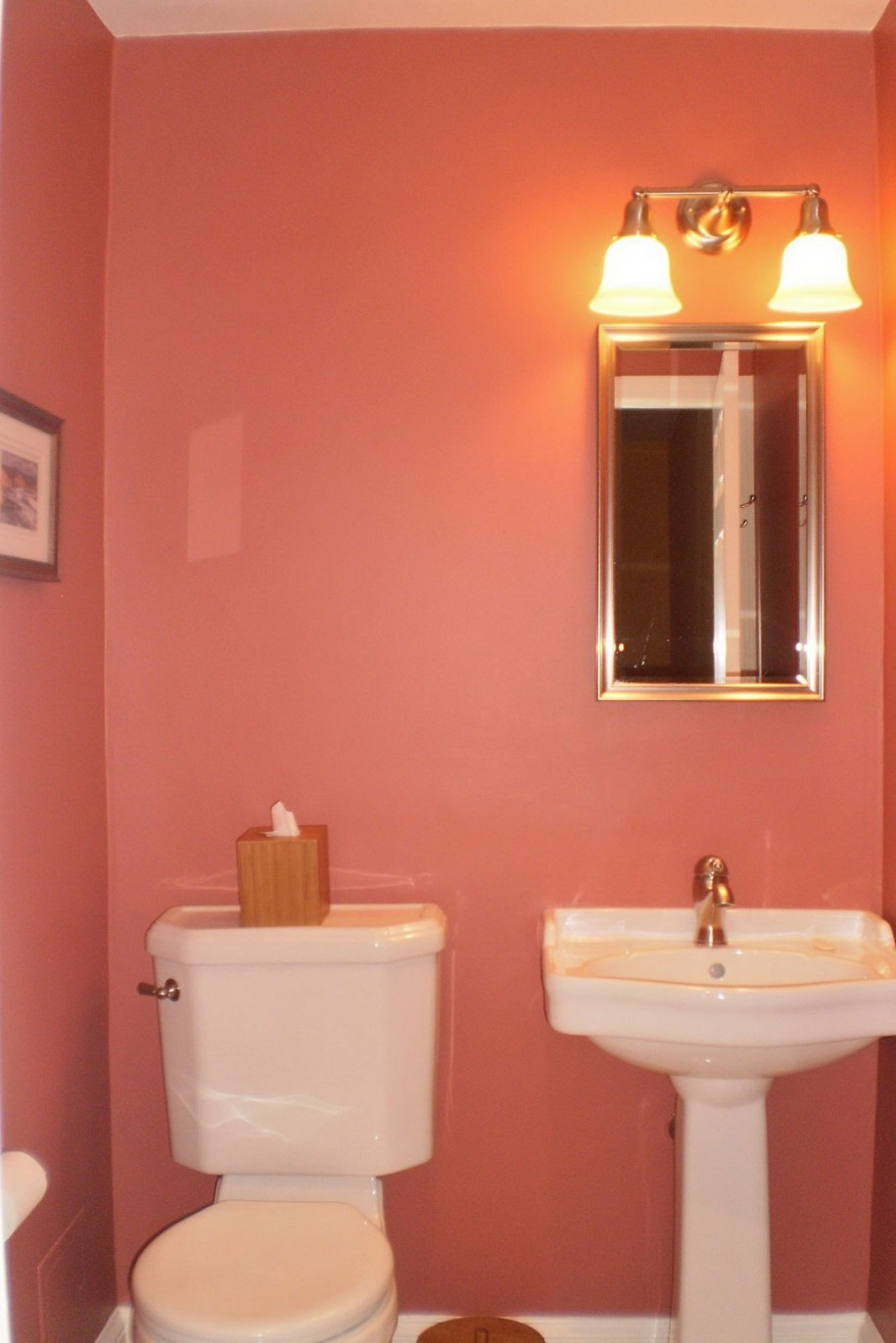 lovely pink bathroom paint ideas for tiny room with white pedestal