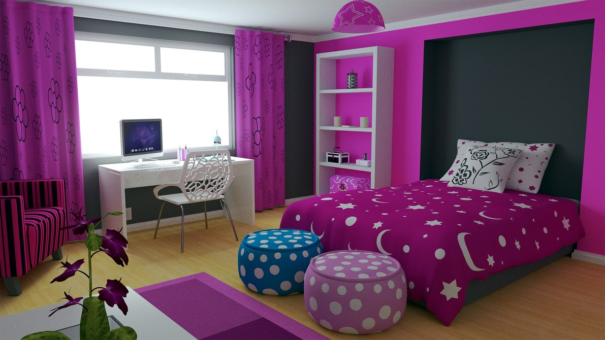 lovely teenage girl room ideas with wide bed and purple duvet near