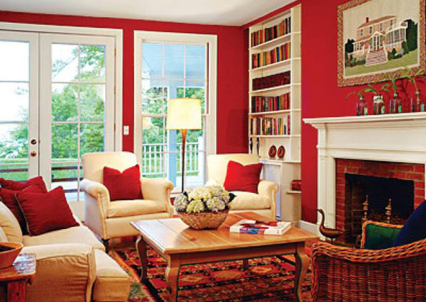 Luxurious Interior Family Room with Sofa and Arm Chairs also Red Area Rug
