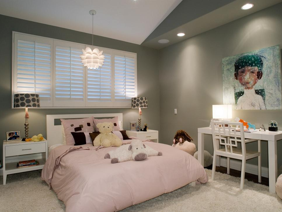 Marvelous Interior Little Girl Bedroom Ideas with Lush Chandelier above Bed plus Study Table