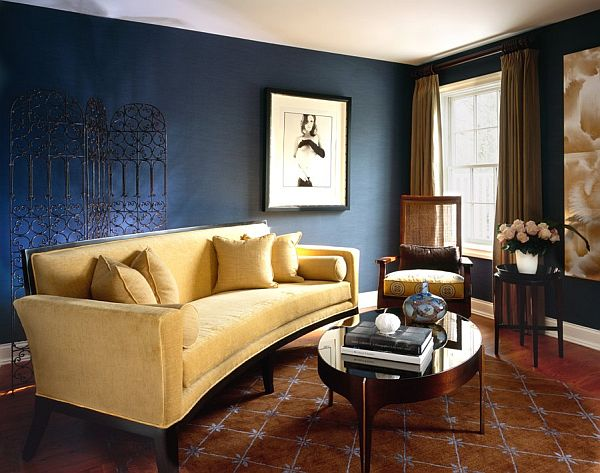 Marvelous Interior Using Navy Living Room Wall Colors and Sofa