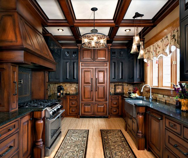 Marveolus Design Ideas For Wooden Kitchen Cabinets With Great Molding And Brown Color