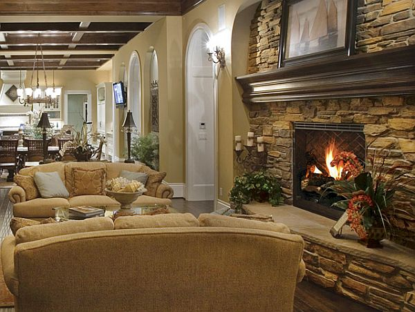Gentil Marveoulus Furniture Decor With Faux Stone Fireplace Facing Great Sofa Plus  Fresh Plant