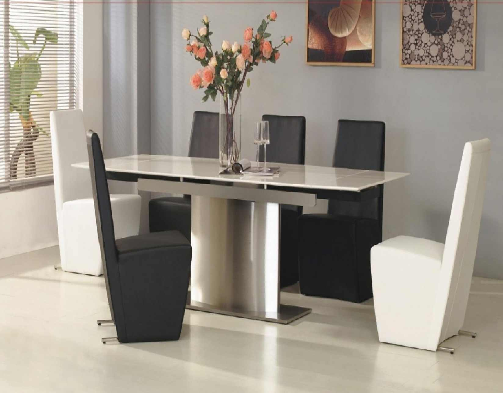 Mesmeric Interior Dining Area Using Modern Table also Black and White Chairs
