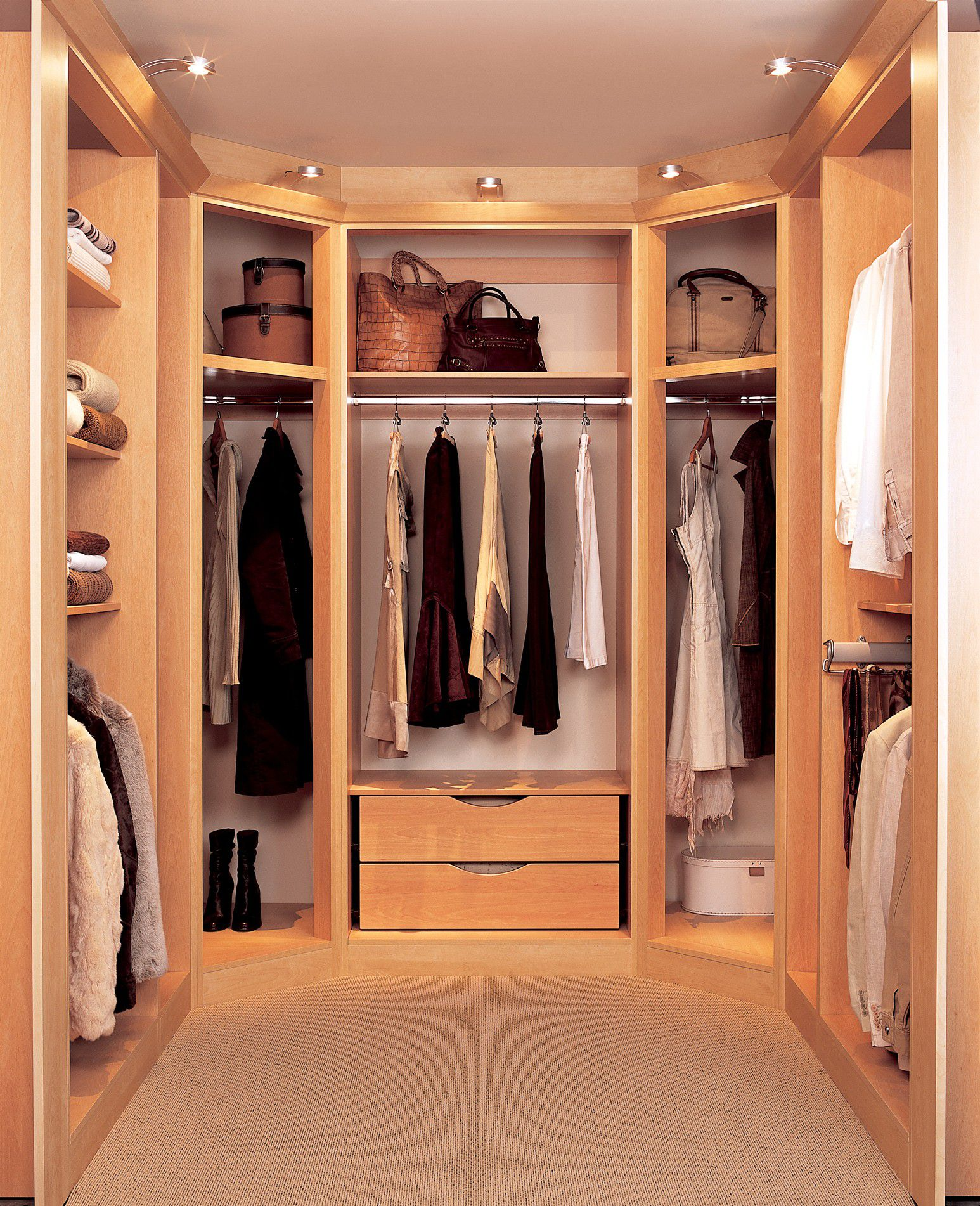 Minimalist Closet Storage Ideas For Small Walk In Closet With Oak Drawers  And Shelves