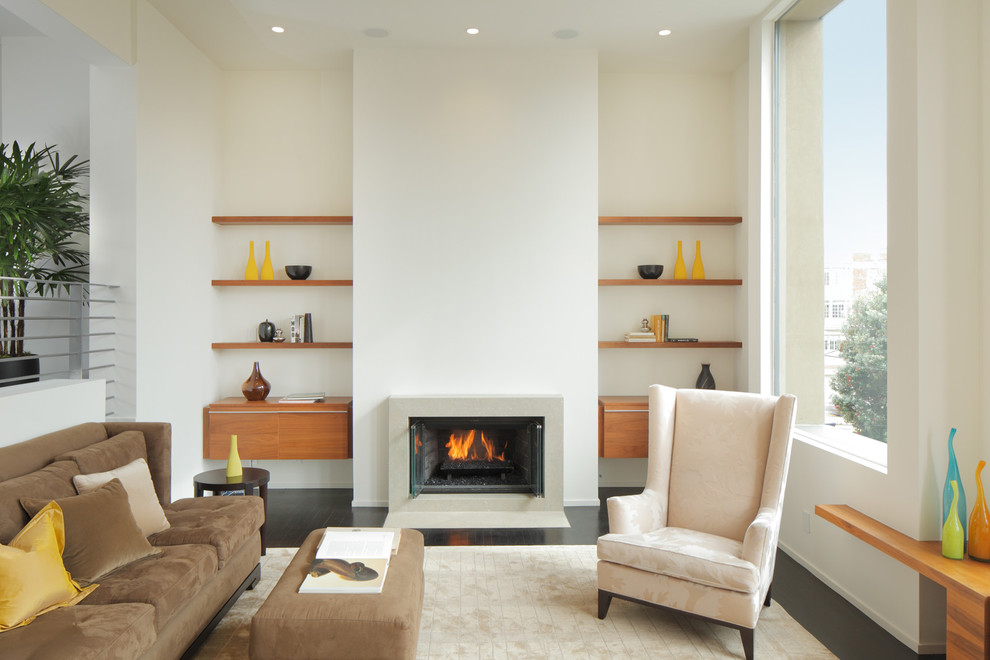 Minimalist Fireplace and Oak Floating Wall Shelves for Comfortable Family Room with Fluffy Sofas