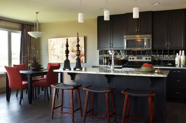 Modern Accessory Decor with White Cabinets Kitchen and Three Barstool near Marble Countertop