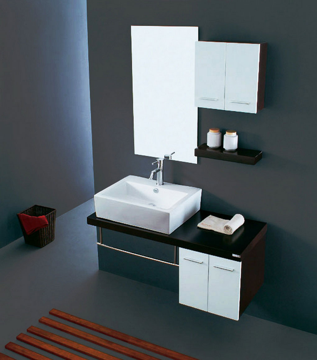 Modern Bathroom Cabinet Ideas for Spacious Bathroom with Clear Wall Mirror and White Sink