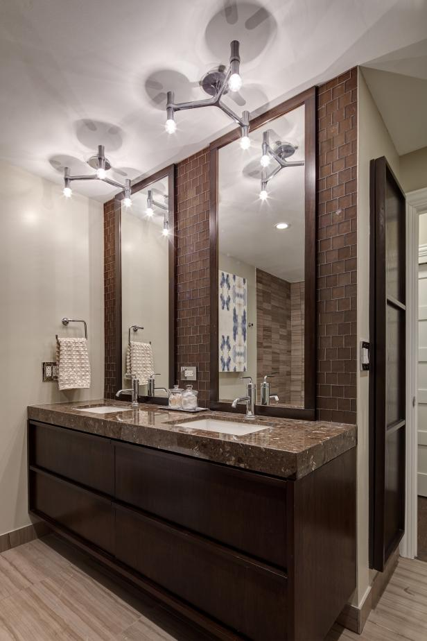 Modern Bathroom Lighting with Chic Design and calm Color Accent on Large Ceiling