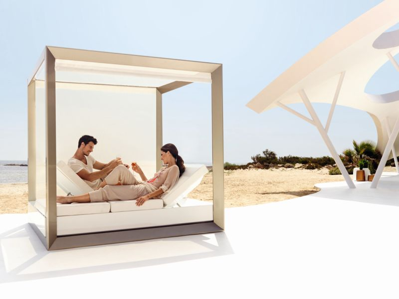 Modern Design for Outdoor Daybed With Canopy and Nice Color Accent plus Bright Ambience