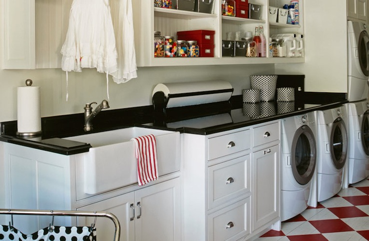 Modern Furniture in Best Laundry Room Design with Pure White and Dark Color Accent