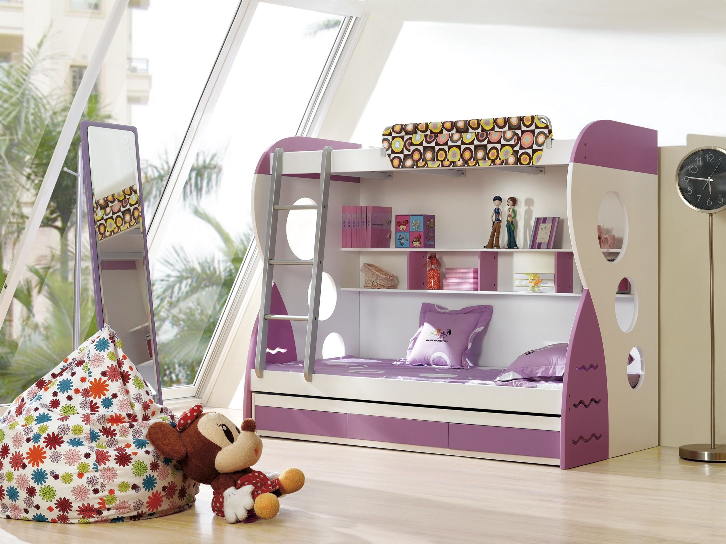 Modern Girl Bunk Beds Design with Colorful Look