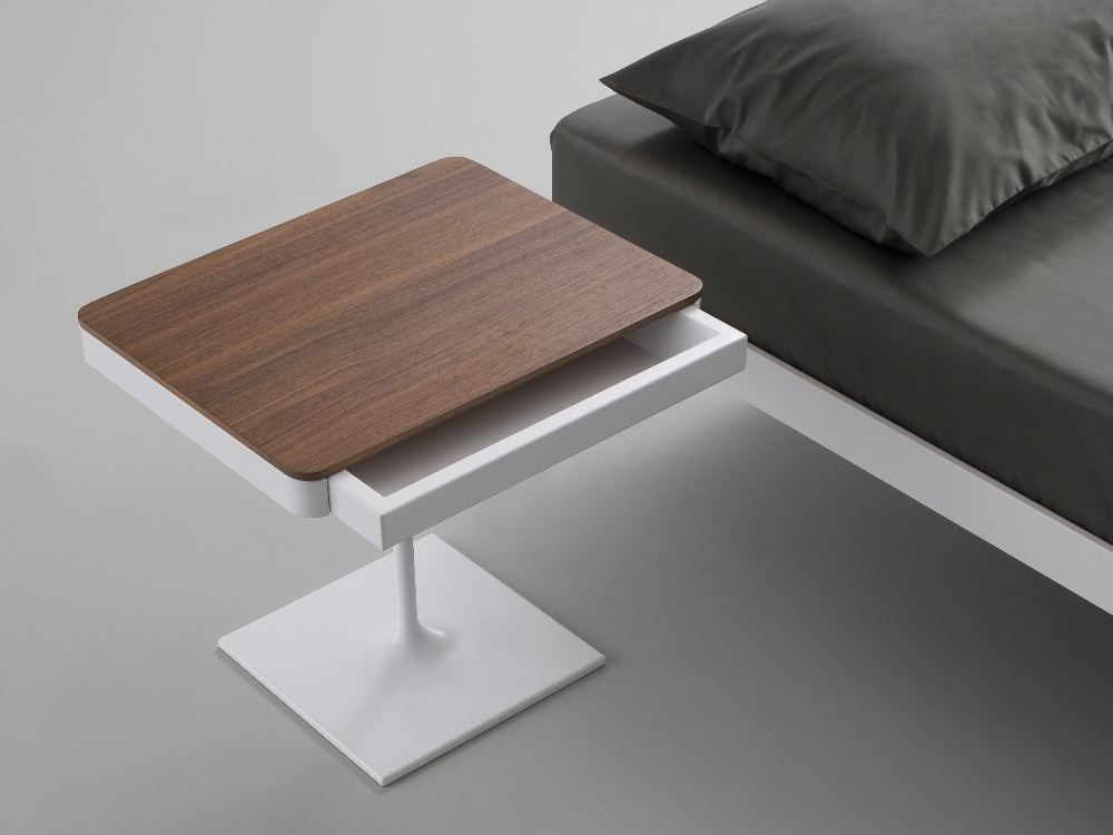 Modern Picture for White Beside Table with Wooden Accent near Best Dark Masterbed