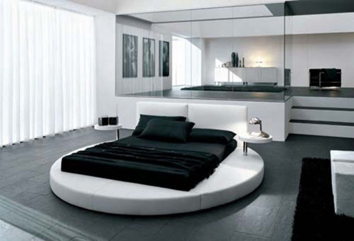 Modern Round Bed Completing Stylish Room using Bedroom Color Schemes with White Sheer Curtain
