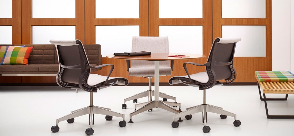 Modern Swivel Chairs and Round Table as Awesome Second Hand Furniture for Home Office Area