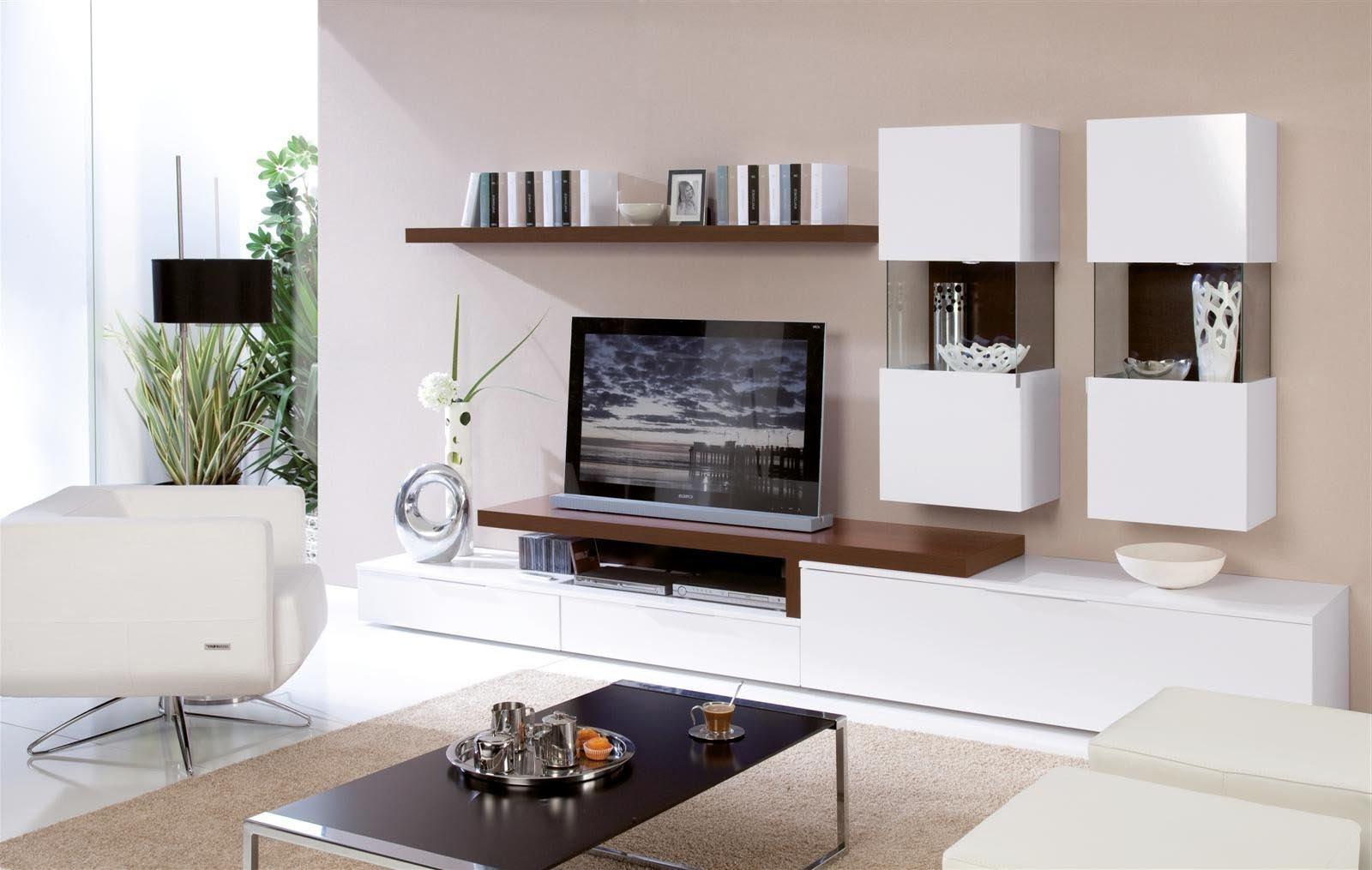 Modern Wall Mounted Shelves Design inside Stunning Living Room with White Sofa and Black Table