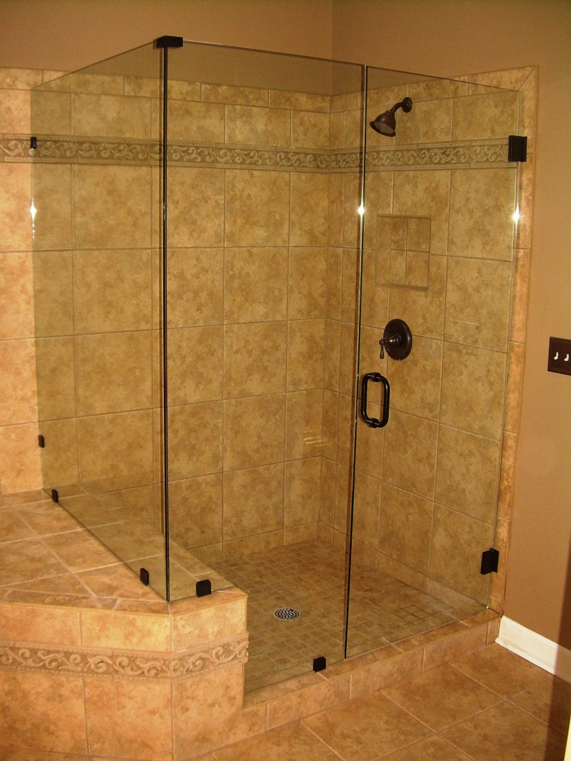 Narrow Bathroom Shower Ideas Using Visible Glass Door also Fancy Wall