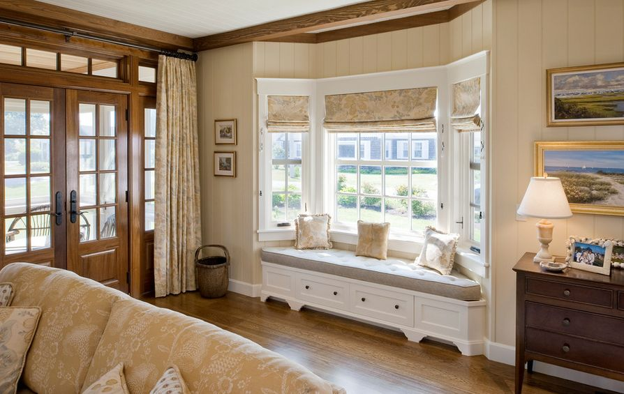 Natural Design for Window Covering Ideas with Wooden Material and Bright Glass Accent