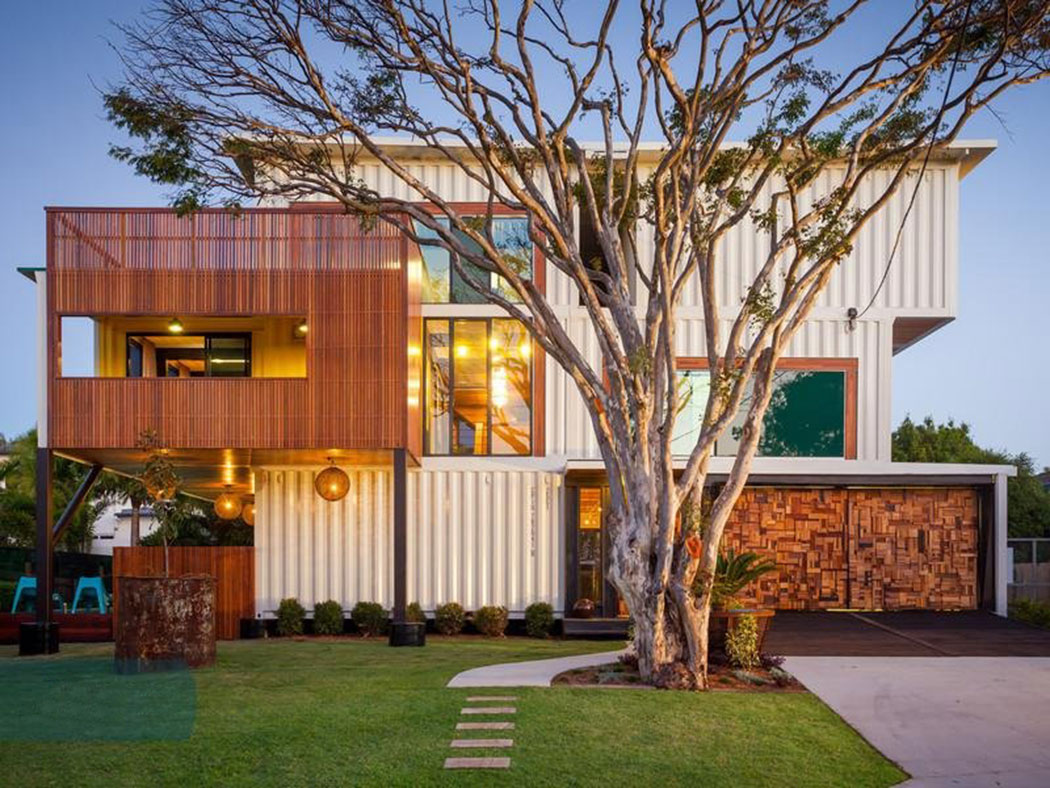 Natural Green Grass Yard Completing Sensational Cargo Container Homes With  Wooden Wall And Clear Glass Windows