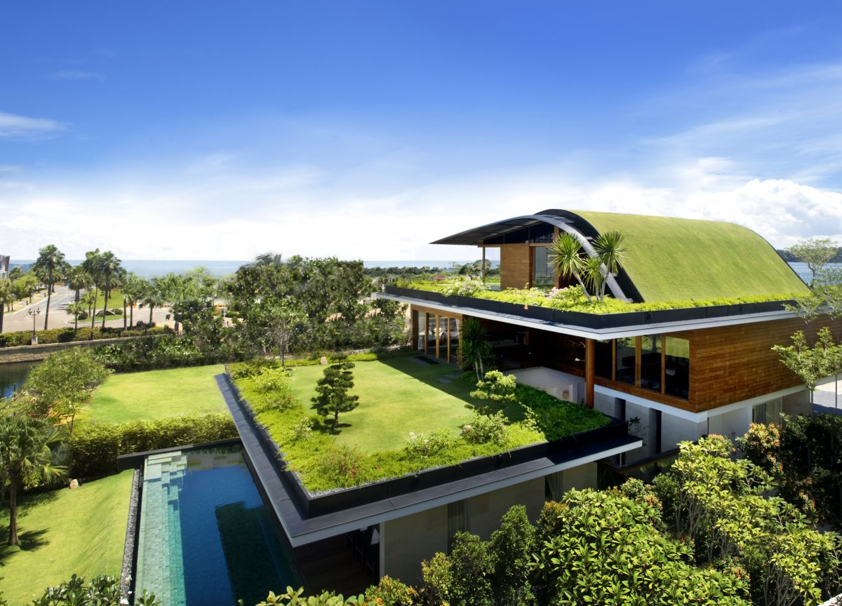 Natural Green Roof Garden Decorating Sensational Home Design Ideas with Wooden Wall and Glass Windows