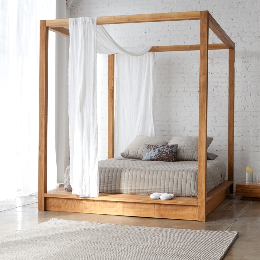 Natural Oak Canopy Bedroom Sets and Sheer Curtain Used in Unique Bedroom with Exposed White Brick Wall