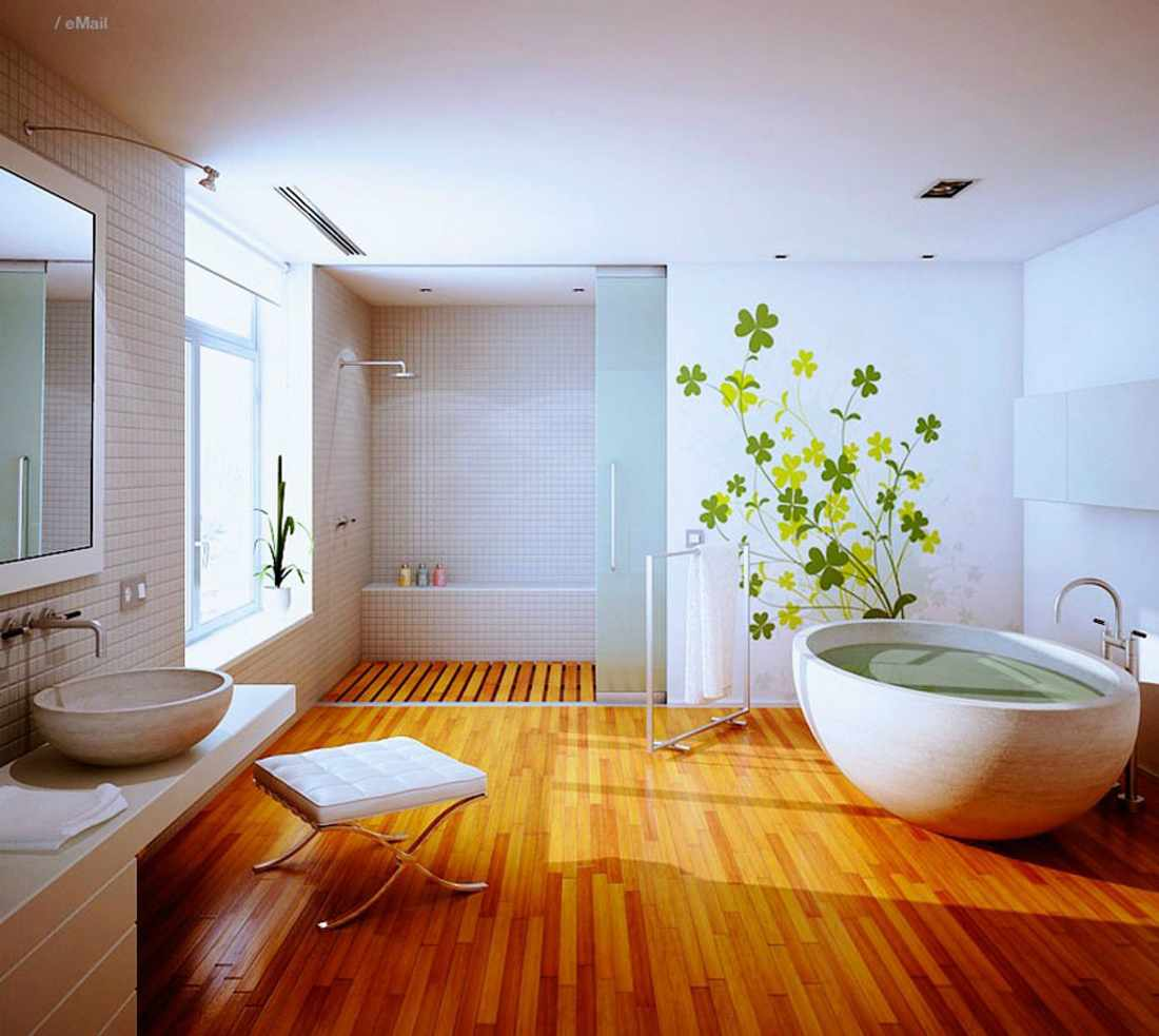 Natural Wood Bathroom Flooring Design with White Large Bathtub Ideas