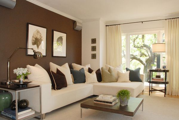 Nervous L Shaped Sofa Beside Arch Lamp Front Living Room Wall Colors