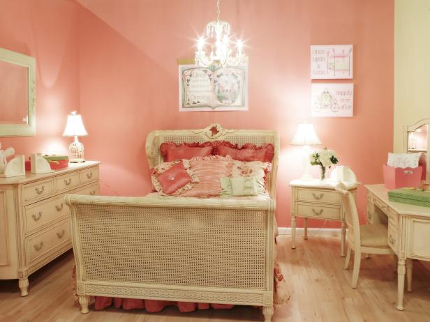 Nervous Little Girl Bedroom Ideas with Pink Wall Paint also Minimalist Bed beside Dresser