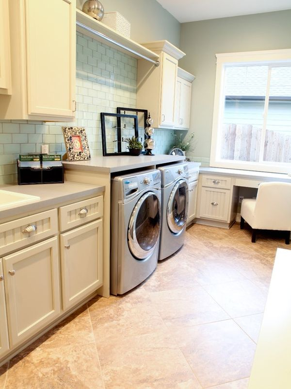 Nice Ceramics Floor Color Accent in Laundry Room Design with Calm White Cabinets