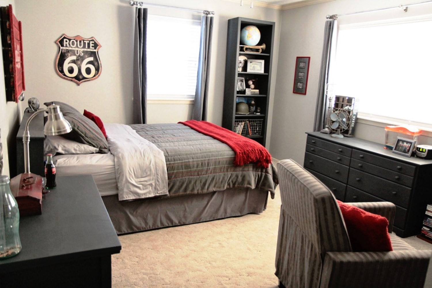 Old Fashioned Dark Dressers For Simple Teen Room Ideas With Grey Bedding  And Sofa On Carpet