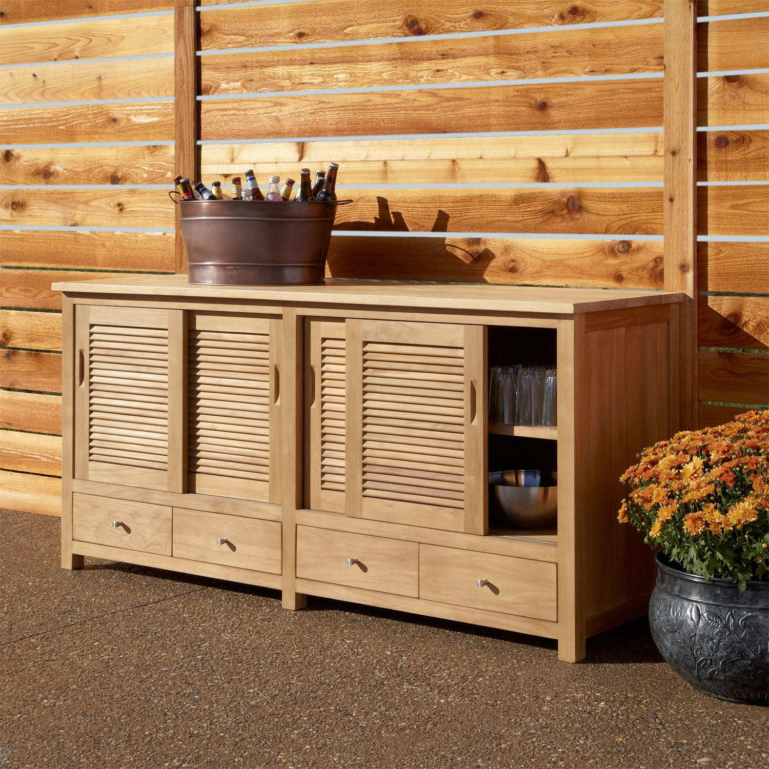 Old Fashioned Outdoor Kitchen Cabinets with Small Drawers and Cabinets beside Wooden Wall Fence