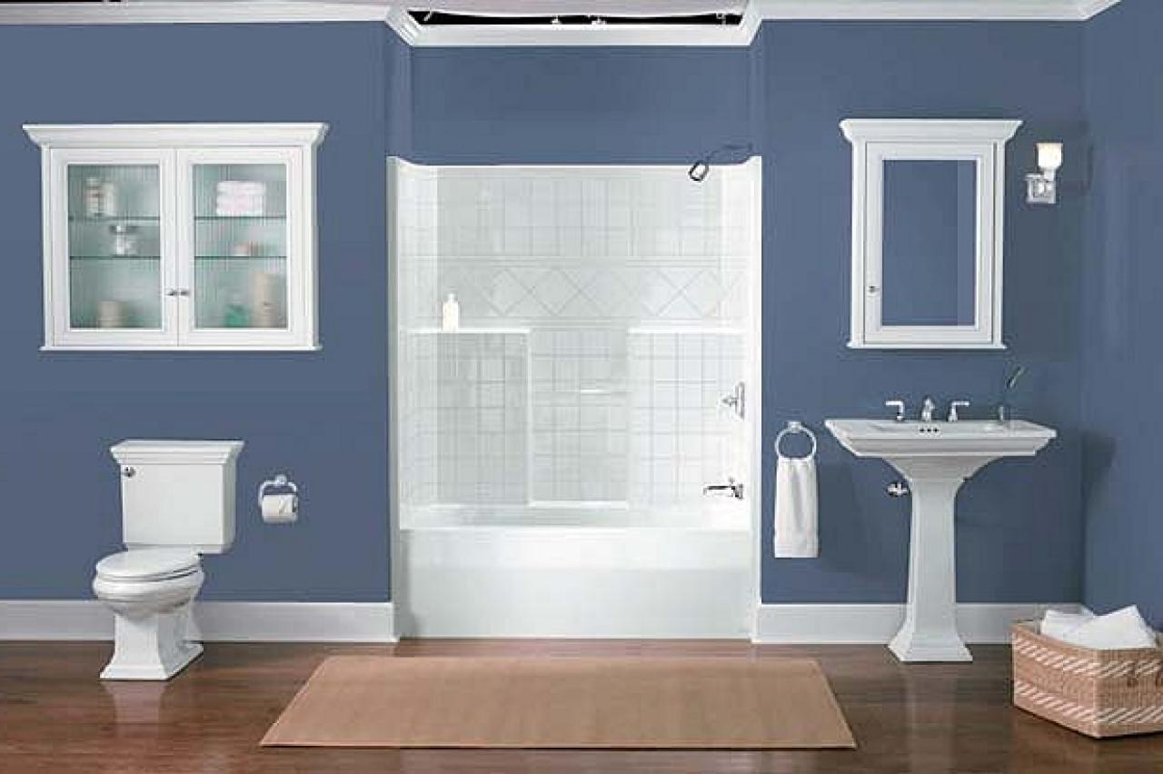 Old Fashioned Pedestal Sink and Bathtub Completing Blue Bathroom Color Schemes on Laminate Teak Flooring