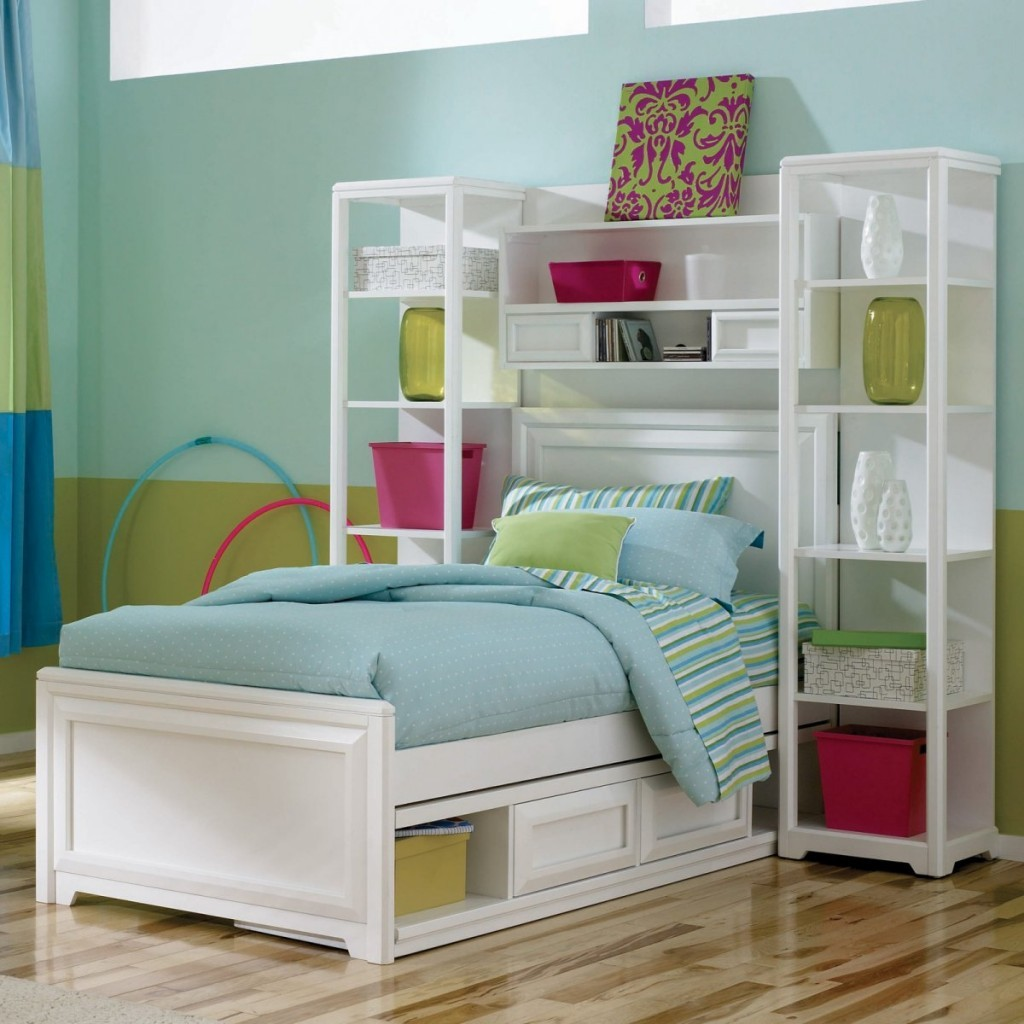 Old Fashioned White Storage Bed and Clean Shelves for Comfy Teen Room Ideas with Laminate Teak Flooring