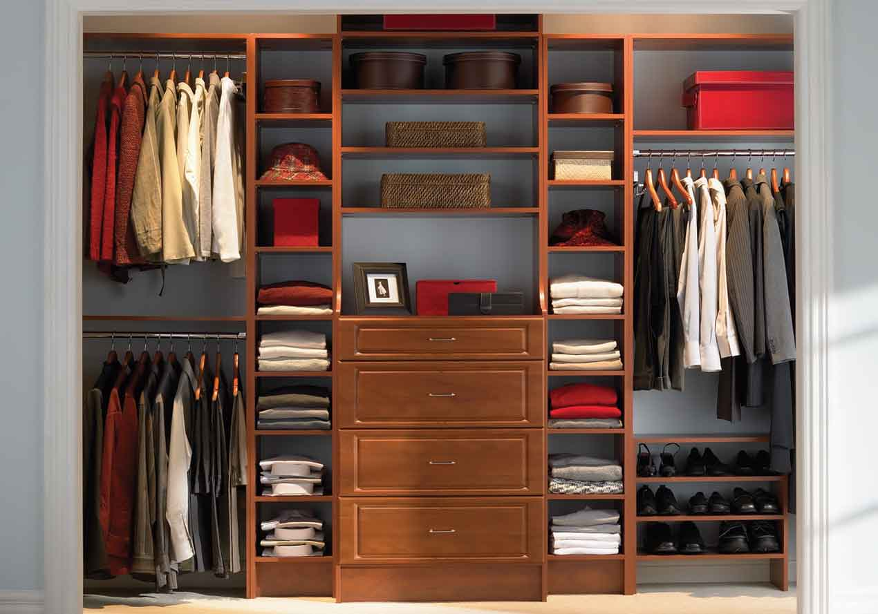 Old Fashioned Wooden Drawers And Shelves Used In Closet Organizer Ideas  With Glossy Clothes Hanger