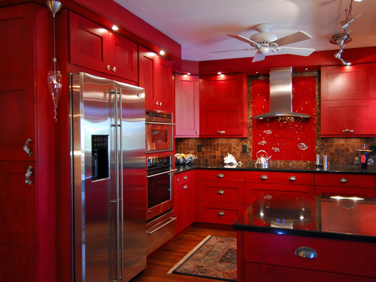 Opulent Ceiling Van also Backsplash Plus Great Red Kitchen Cabinets