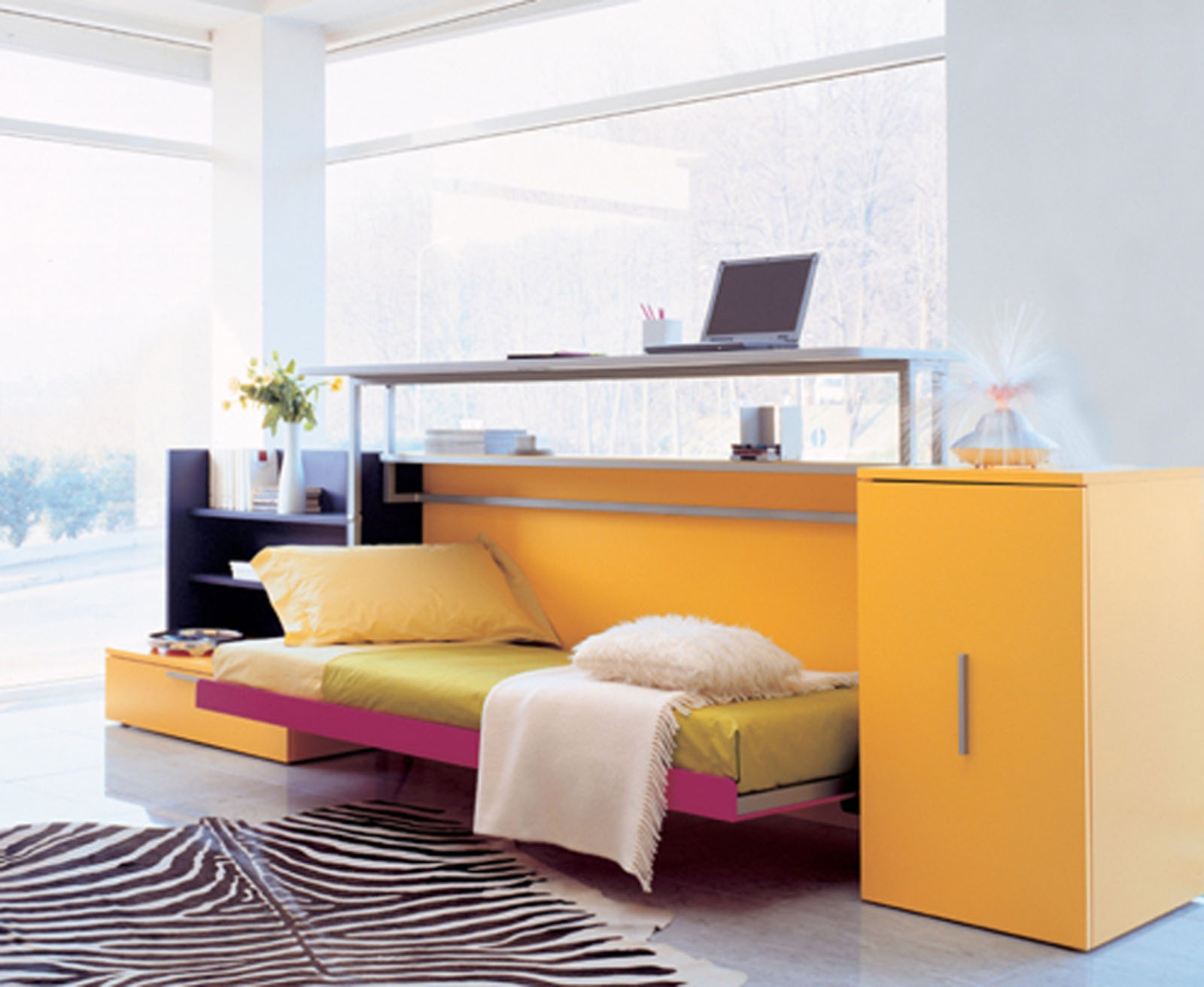Orange Cabinet and Flipped Bed as Cute Furniture for Small Spaces on Granite Flooring near Glass Wall