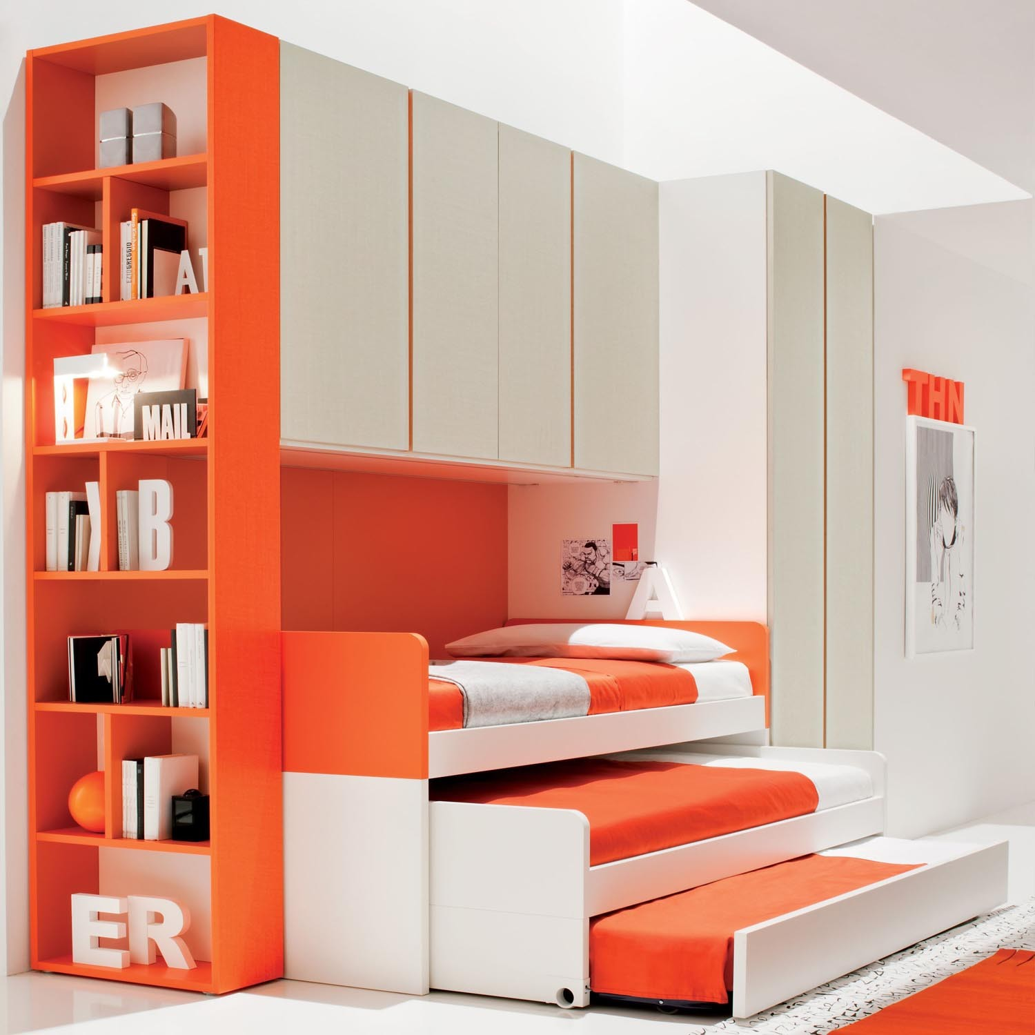 Orange Kids Beds with Storage and Bookshelves in Fascinating Bedroom using White Flooring