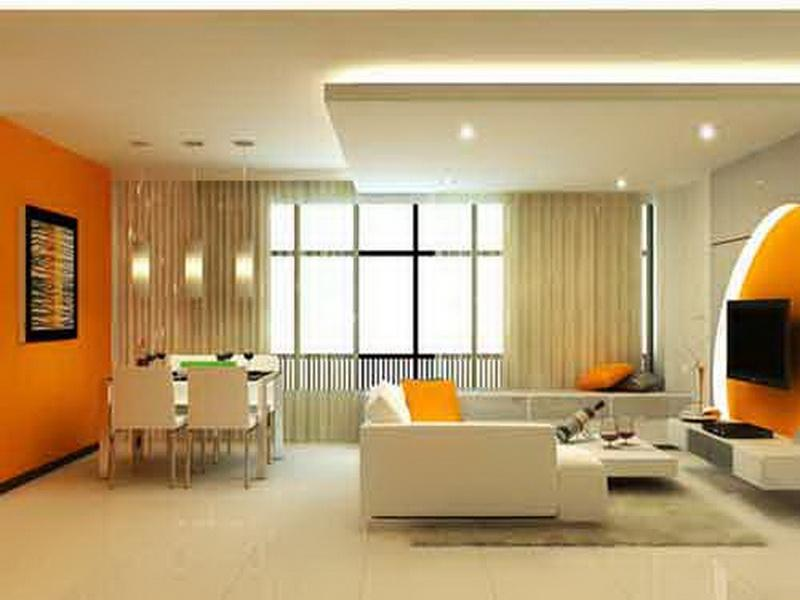 Orange Living Room Paint Colors Completing Living Dining Room With White  Sectional Sofa And Dining Table