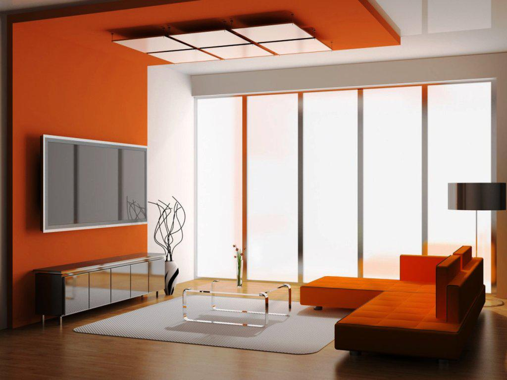 Orange Sectional Sofa and Glass Top Coffee Table as Stunning Living Room Color Schemes on Hardwood Flooring