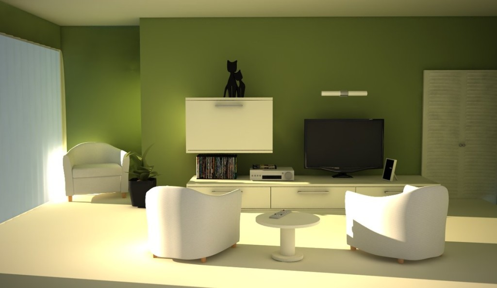 Exceptionnel Perfect Interior Green Living Room Using Chic Wall Decor Also White  Furniture